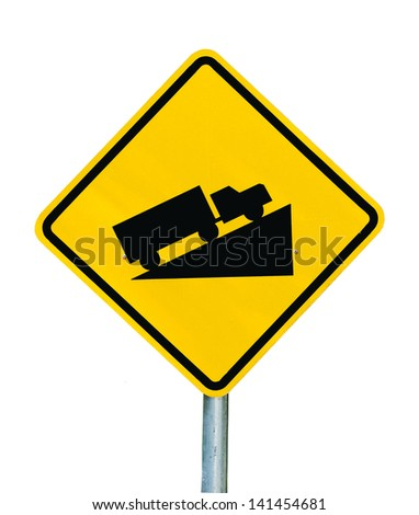 Warning road sign up to hill. isolated on white - stock photo