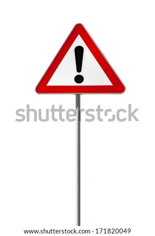 Warning road sign with an exclamation mark isolated on white - stock photo