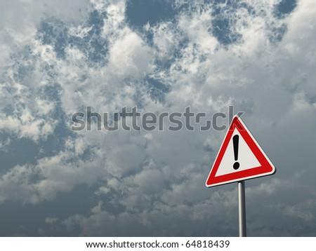 warning roadsign under cloudy blue sky - 3d illustration - stock photo
