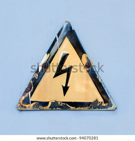 "Warning safety sign ""Danger of electric shock"" - stock photo"