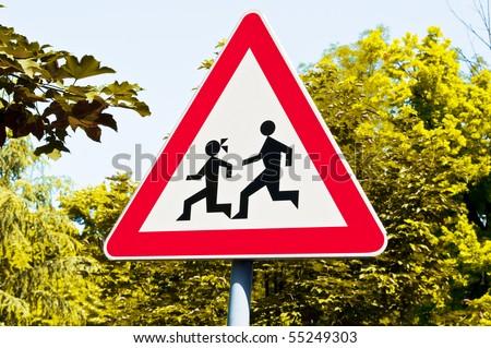 Warning school sign - stock photo