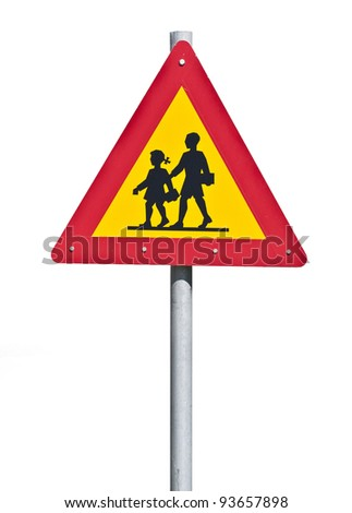 Warning school sign isolated on white - stock photo