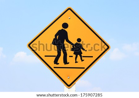 warning school zone traffic sign  - stock photo