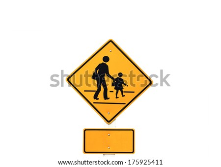 warning school zone traffic sign on white  background - stock photo