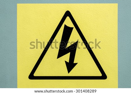 warning sign electric shock - stock photo