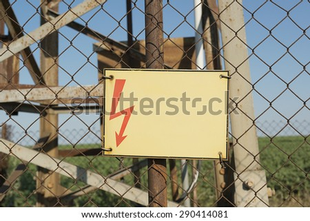 Warning sign high voltage   - stock photo