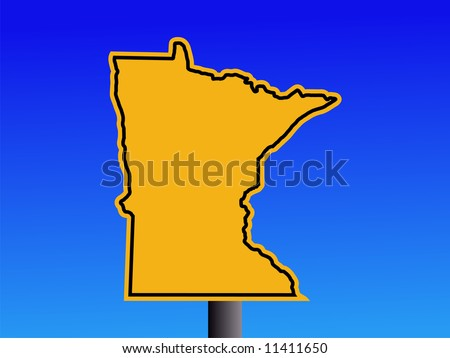 Warning sign in shape of Minnesota on blue illustration JPEG