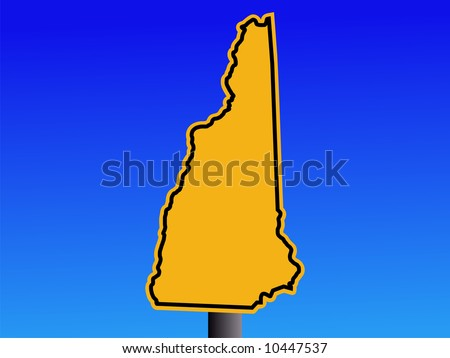 warning sign in shape of New Hampshire on blue illustration JPG