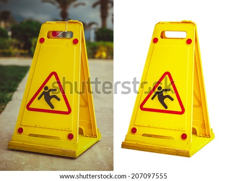 Warning Sign of wet floor and cleaning in progress isolated at white. Photo - stock photo