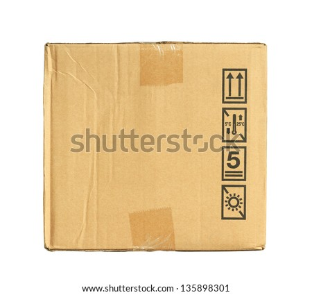 Warning sign on carton box - stock photo