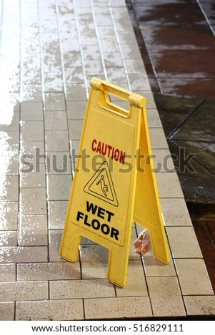 warning sign wet floor ,cleaning area