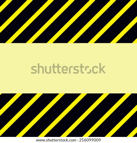 Warning sign with a blank space in the middle. Yellow black striped frame background with copy space. Raster graphic image.