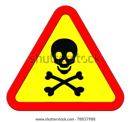 Warning sign with skull symbol isolated on white. Computer generated 3D photo rendering. - stock photo