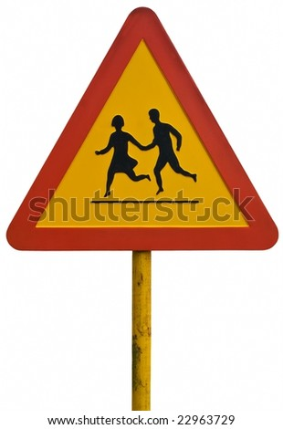 Warning sign with young couple.