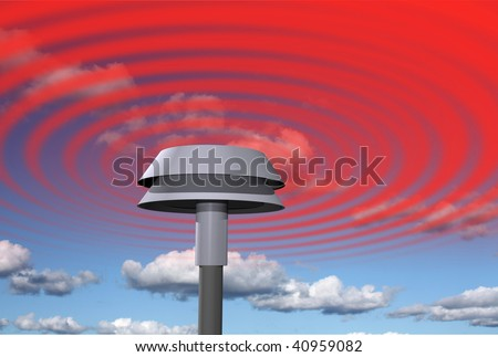 Warning signal from siren - stock photo