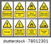 Warning Signs labels. Bitmap copy my vector ID 77037973 - stock vector