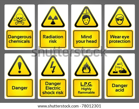 Warning Signs labels. Bitmap copy my vector ID 77037973