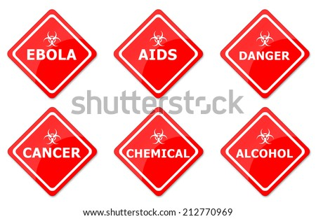 Warning Signs Set Created For Mobile, Web And Applications - stock photo