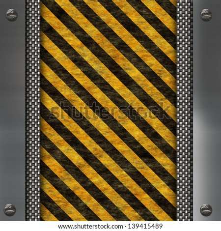 warning stripes and metal frame - stock photo