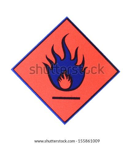 Warning symbol flame - stock photo