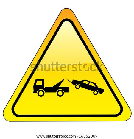 warning tow away zone sign - triangle version - stock photo