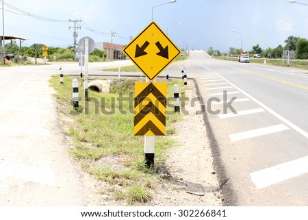 Warning traffic sign - stock photo