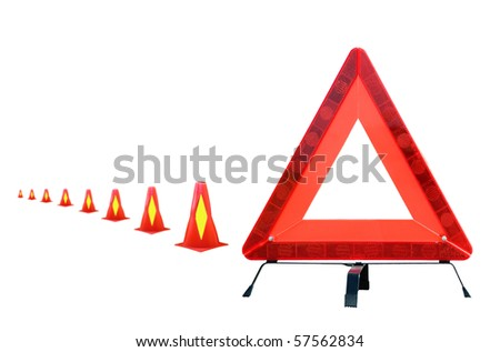 Warning triangle with caution cones
