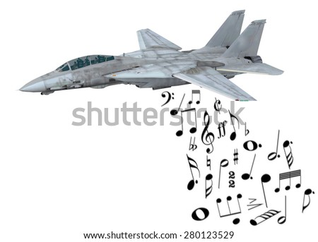 warplane launching musical notes instead of bombs, 3d illustration - stock photo