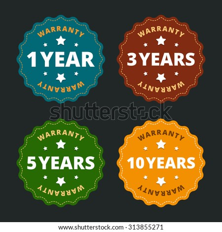 Warranty labels - for 1, 2, 5 and 10 years in flat style.