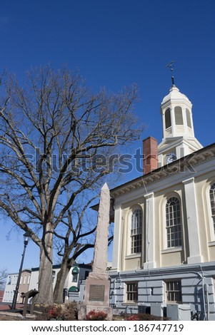 Warrenton Courthouse in winter against blue sky, Fauquier County, Warrenton, Virginia - stock photo
