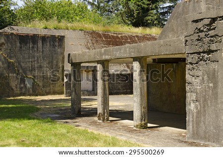 Warrenton OR, USA - June 20, 2015 Gun battery structures from World War II era facilities at the mouth of the Columbia River in Oregon,s Fort Stevens State Park