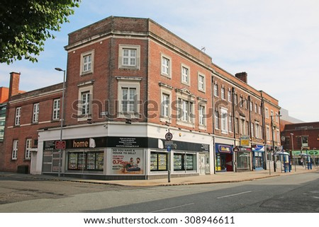 WARRINGTON, UK - AUGUST 23, 2015: Commercial buildings, Warrington, UK. Warrington is a town in Cheshire and stands on the banks of the River Mersey,  - stock photo