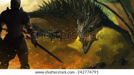 warrior and a dragon - stock photo