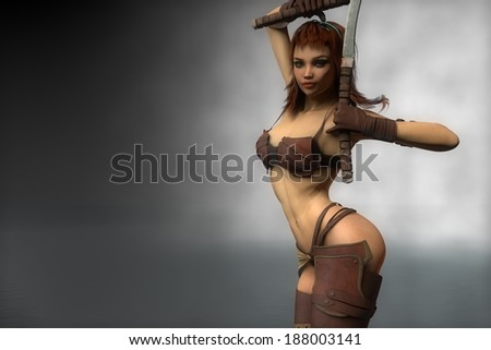 warrior girl with two swords