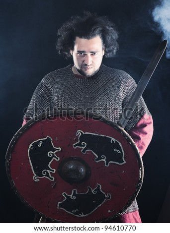 Warrior in fog - stock photo