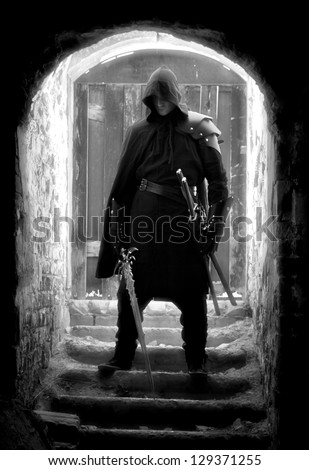 warrior in forgotten old place - stock photo
