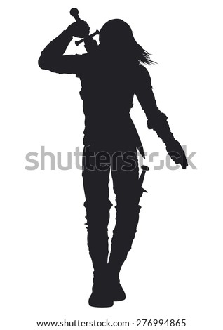 Warrior man silhouette. Stylized silhouette of a walking warrior. The man is pulling out the sword on his back  - stock photo