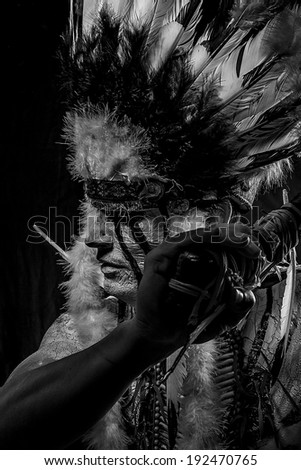 Warrior, Native american indian chiet at sunset - stock photo