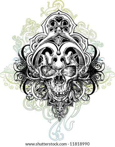 Warrior skull illustration - stock photo