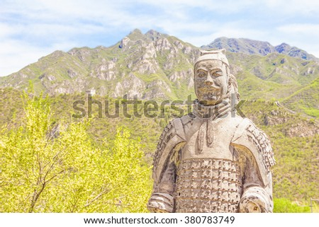 Warrior statues in the Great Wall of China - stock photo