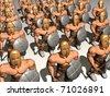 Warriors with helmet and sword. 3d render. - stock photo
