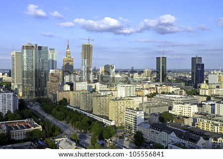 Warsaw aerial late afternoon view - stock photo