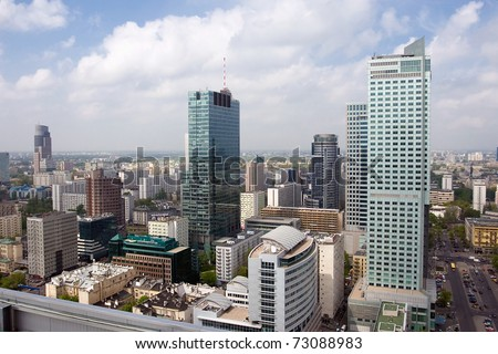 Warsaw aerial skyline from the top of the observation deck on Zlote tarasy center. - stock photo