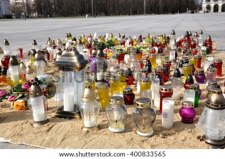 WARSAW - APR 03: Mourners candles on Jozef Pilsudski square in Warsaw on April 03. 2016 in Poland