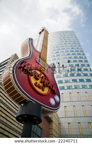 WARSAW - APRIL 30: Hard Rock Cafe logo. April 30, 2008 in Warsaw, Poland - stock photo
