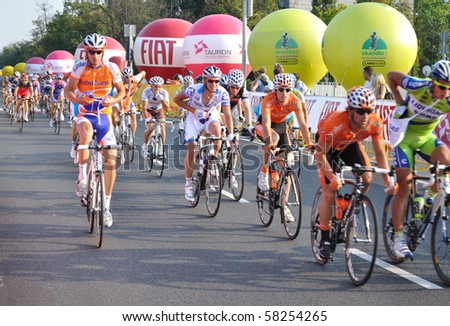 WARSAW - AUGUST 1: Cyclists during Stage 1 of the Tour de Pologne - from Sochaczew to Warsaw - on August 1, 2010 in Warsaw, Poland - stock photo