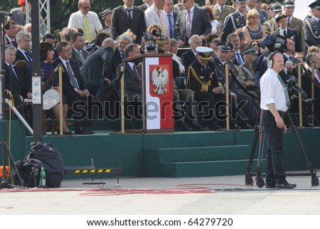WARSAW - AUGUST 15: Representatives of state authorities and military commanders during celebrations of the Polish Armed Forces Day August 15, 2010 in Warsaw, Poland.