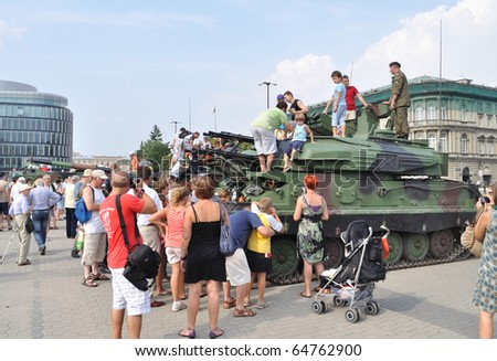 WARSAW - AUGUST 15: Self-propelled anti-aircraft gun - An exhibition of military equipment is on display during celebrations of the Polish Armed Forces Day on August 15, 2010 in Warsaw, Poland.
