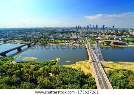 Warsaw - bird's-eye view. - stock photo