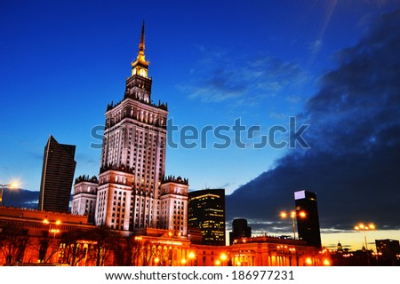 Warsaw city center with Palace of Culture and Science, the tallest building in Poland and the eighth tallest building in the EU